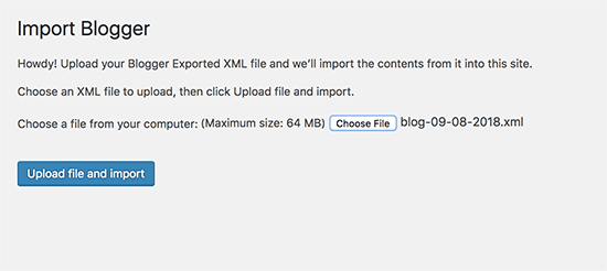Upload File Blogger Importer